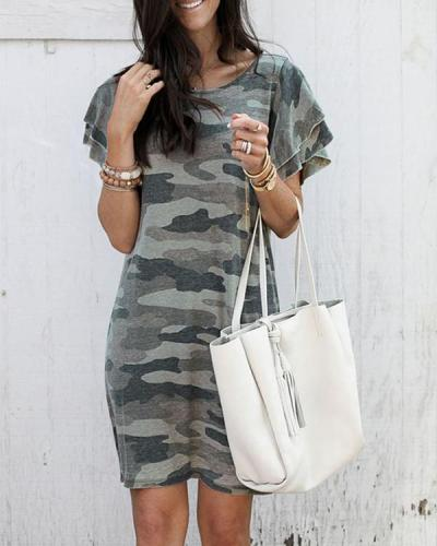 Women Bubble Sleeves Camo T-shirt Dress