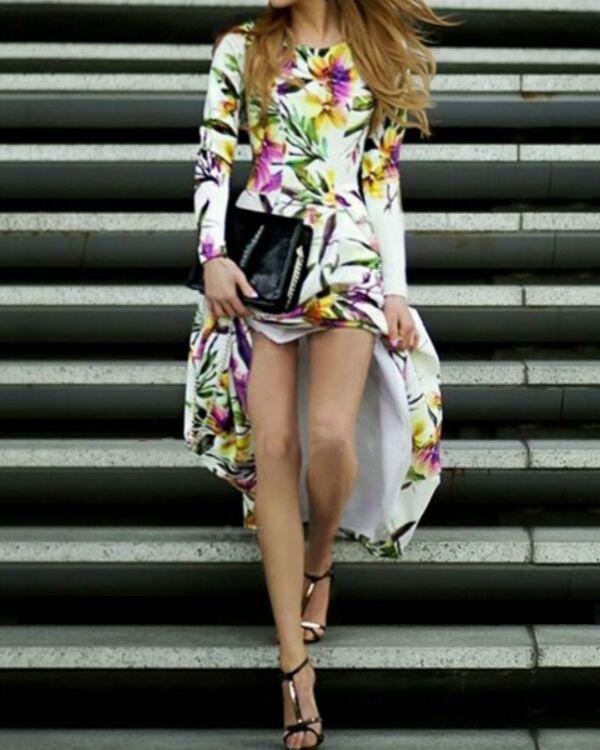 Floral Long Sleeve X-line Maxi Dress
