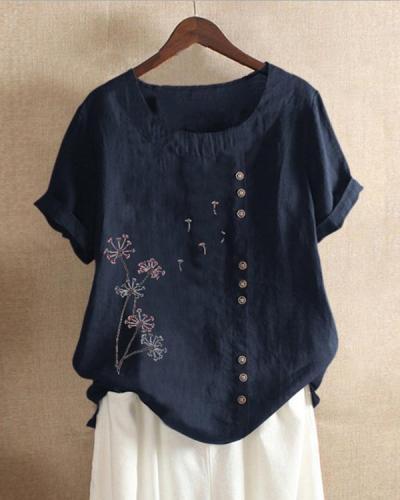 Casual Print Short Sleeves Linen T-shirt