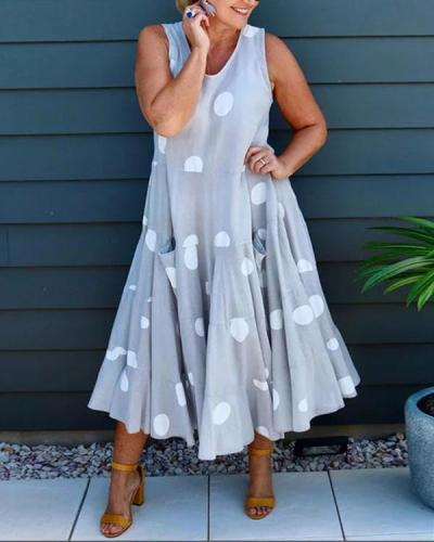 Casual Print Wave Point Sleeveless Maxi Dress