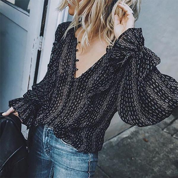 Fashion V Neck Long Sleeve Printed Elegant T-Shirt Top