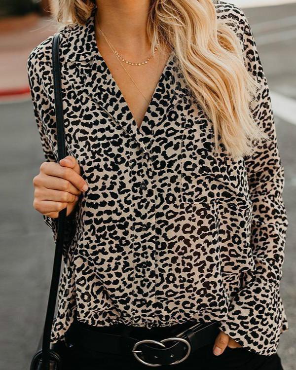 Lapel Leopard Printed Long Flare Sleeve Fashion Blouses