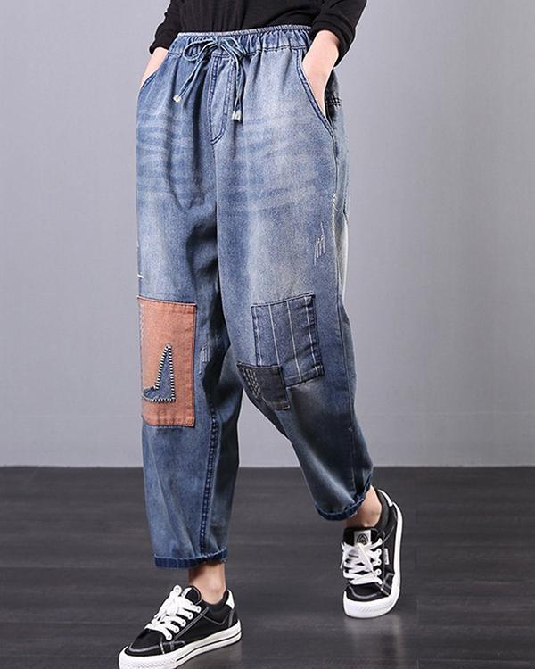 Retro Patch Drawstring Women Pants