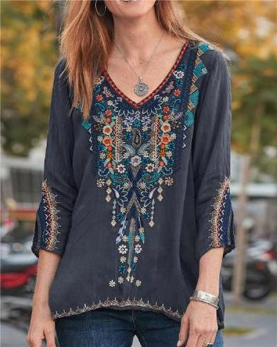 Embroidery Women Loose New Casual Lady Daily Shift Tops