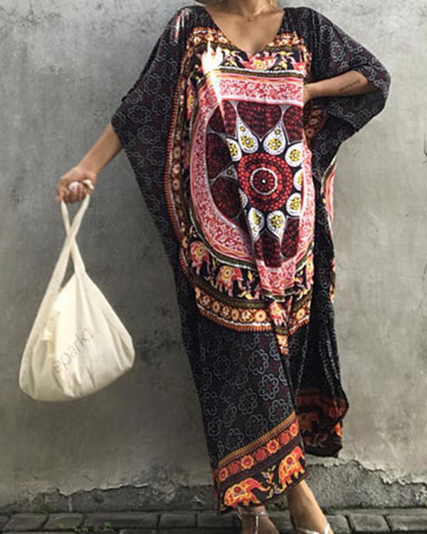 Floral-Printed Round Neck Short Sleeve Loose Maxi Kaftan Dress