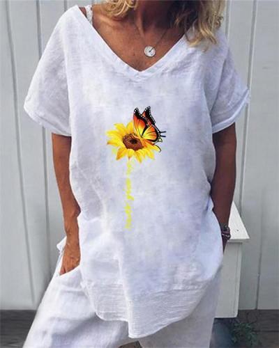 Floral Print Casual V-Neckline Short Sleeve Blouses