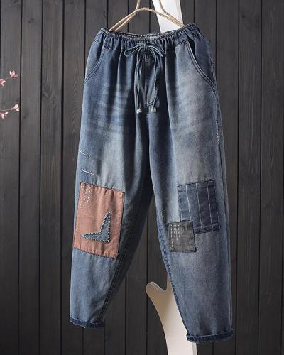 Retro Patch Drawstring Women Pants