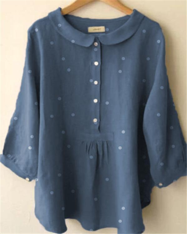 Long Sleeve Casual Polka Dot Daily Shift Plus Size Tops