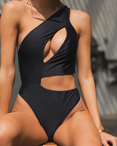 Paneled bikini cutout swimsuit