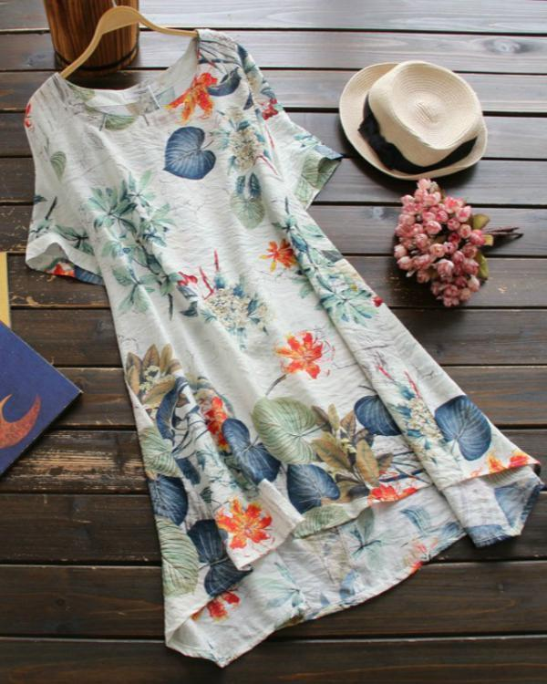 Floral Tshirt Short Sleeve Above Knee A-line Dress