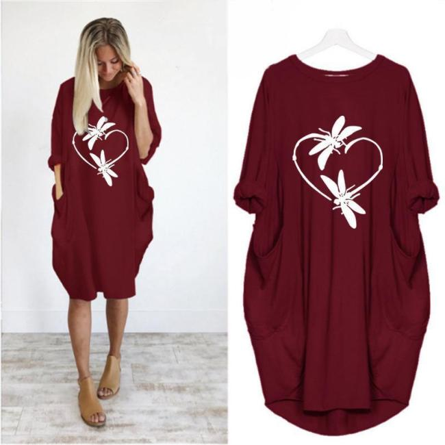 Casual Animal Round Neckline Knee-Length Shift Dress