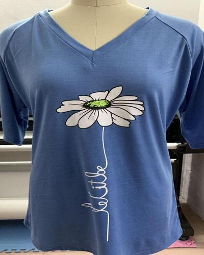 Blue Casual Floral A-Line Shirts & Tops