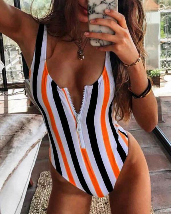 Striped Printed Zipper One-piece Swimsuit