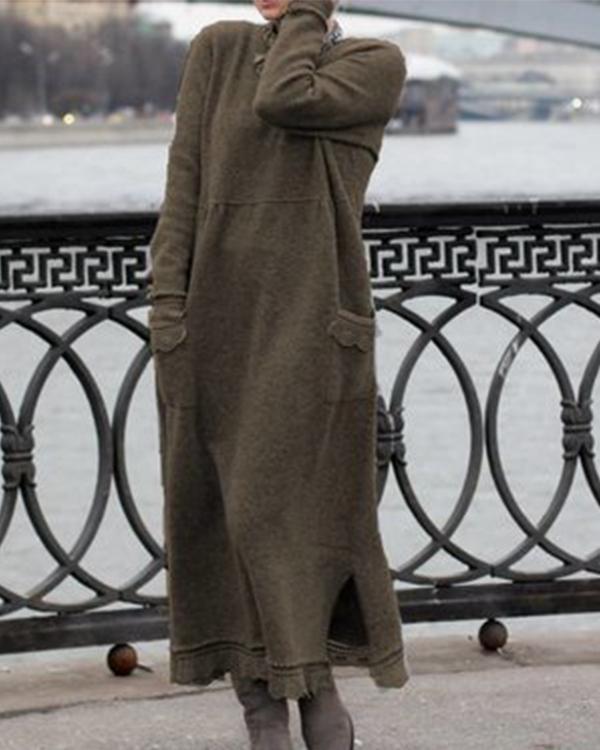 Plain Cotton Long Sleeve Dresses (10 Colors)