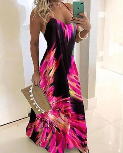 Elegant Plus Size Floral Wrap Halter Neckline Dress