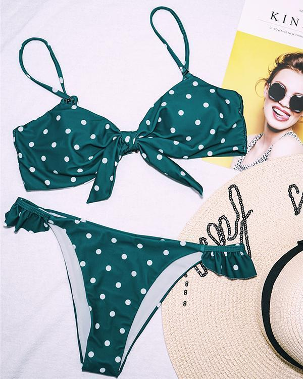 Dot Printed Retro Knot Bikini Swimsuits