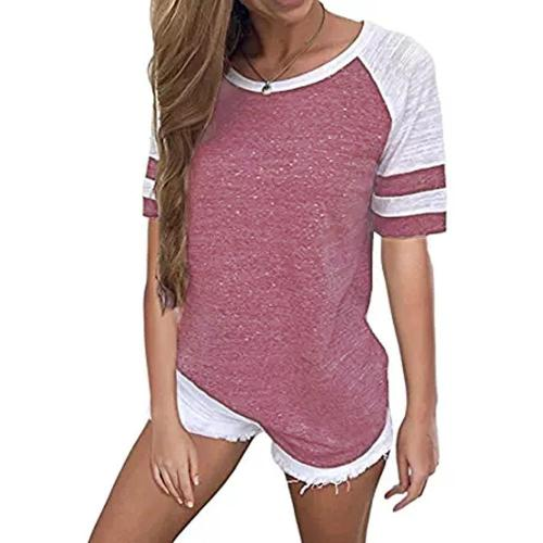 Pink V-neck Short Sleeves Tshirts