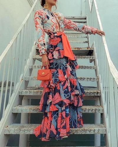 Floral Print Paneled Self-tie Party Maxi Dress