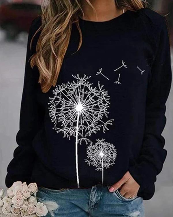 Dandelion Printed Round Neck Casual Loose Sweater
