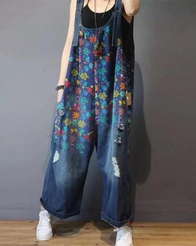 Floral Print Denim Jumpsuit For Women