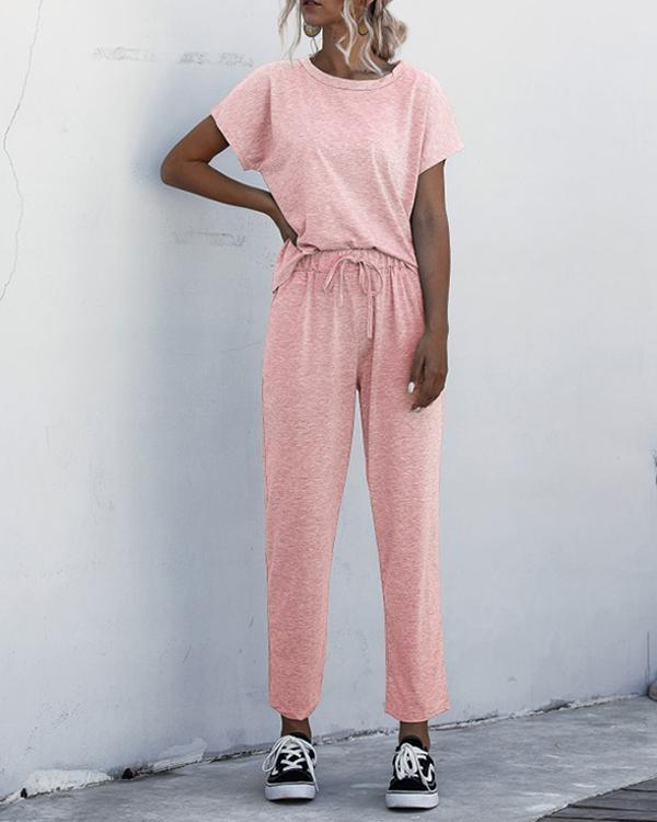 Casual Round Neck Short Sleeve Solid Color Jumpsuit