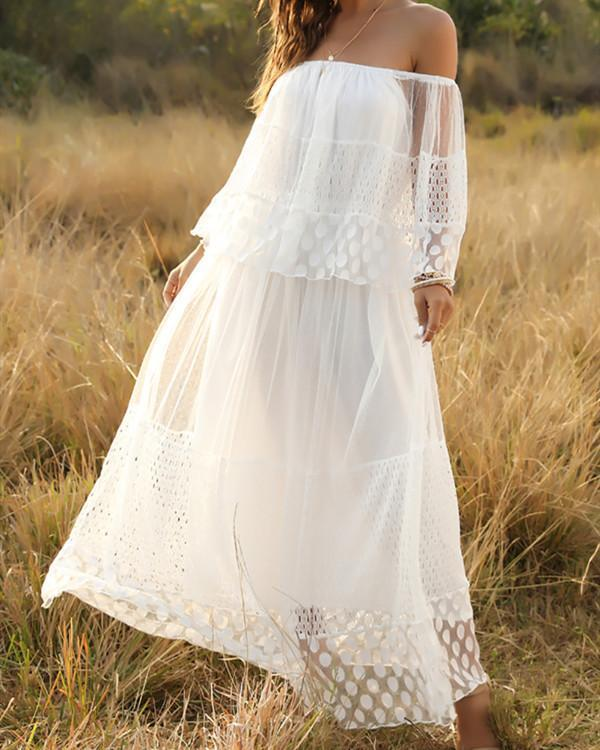 Bohemia Solid Lace Off Shoulder Maxi Dress