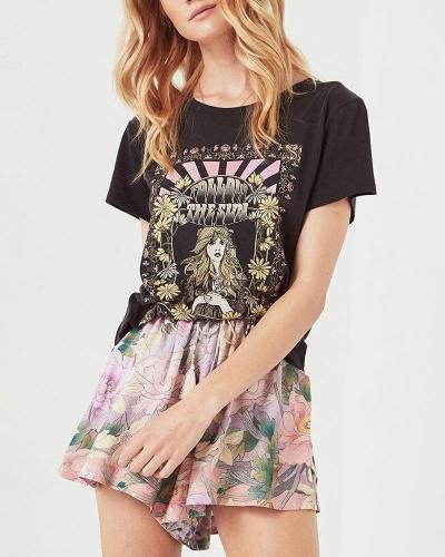Vintage Print T-shirt Top