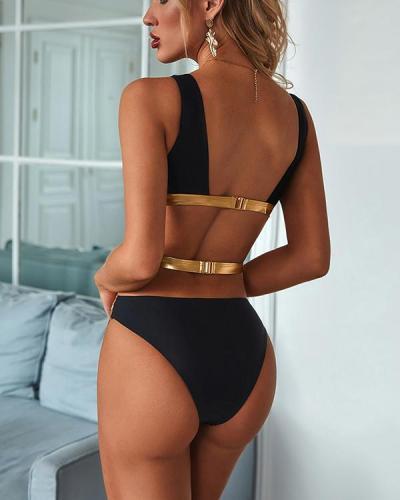 Cut Out Top With High Cut Bikini Set
