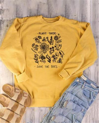 Long Sleeve Letter Printed Casual Round Neck Daily Shift Tops
