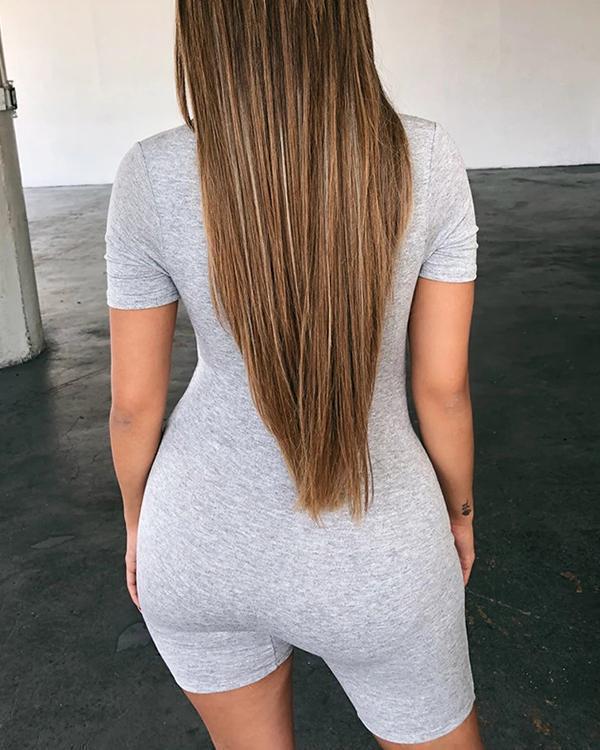 Round Neck Short Sleeve Sexy Jumpsuit