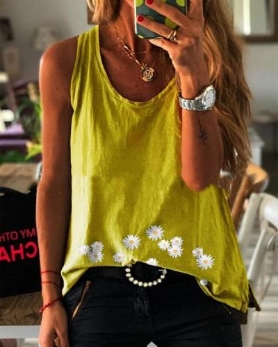 Paneled Sleeveless Daisy Print Casual T-shirt