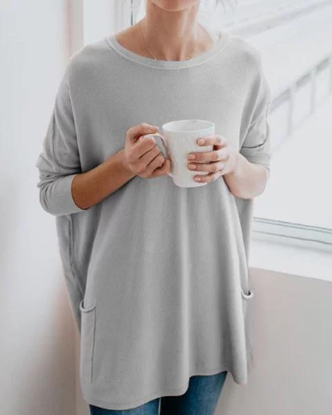 Crew Neck Loose Long Sleeve Fall Casual Shirts & Tops