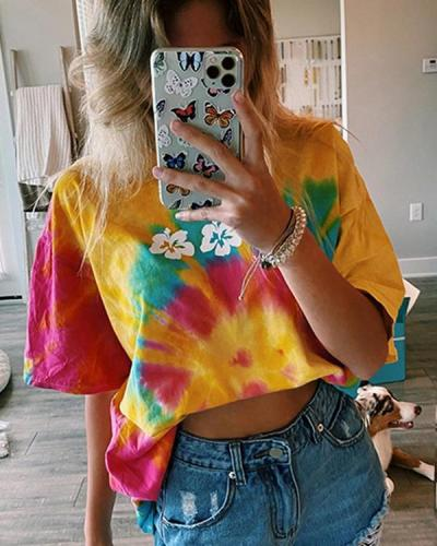 Casual Short Sleeve Flower Tie Dye Tee