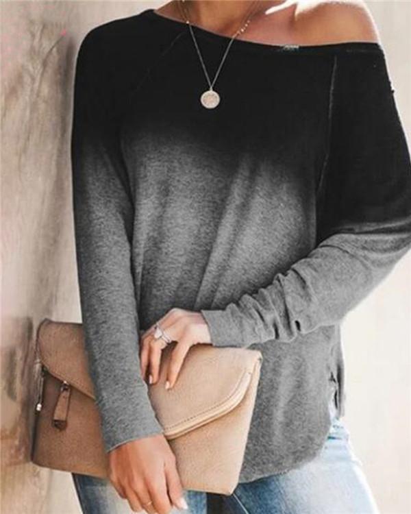 5XL Gradient One Shoulder  Design Casual Round Neck Shirts & Tops