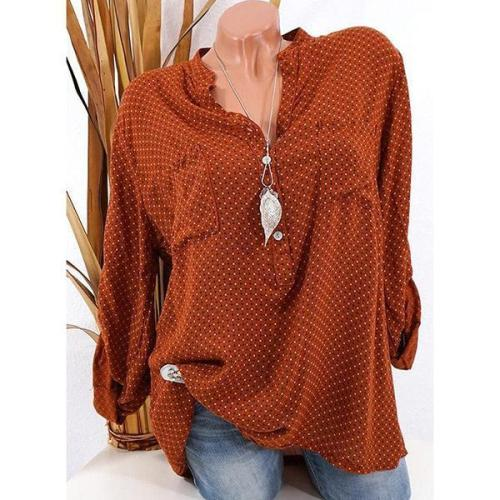 Casual Polka Dot V-neck Long Sleeve Shirt