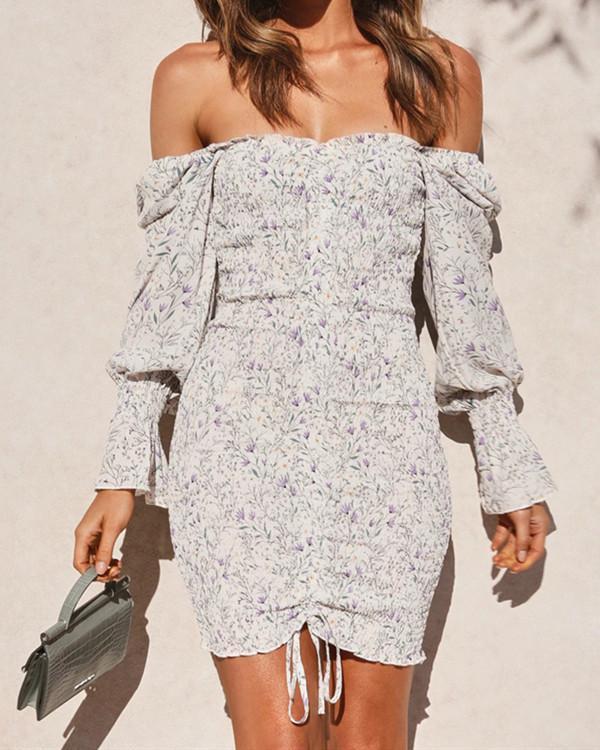 Women Retro Floral Printed Body Dress