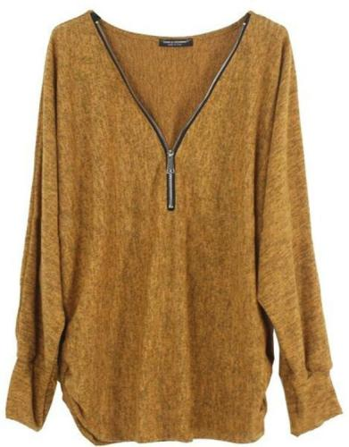 Plus Size Casual Zipper V-Neck Solid Color Long Sleeve T-shirts Tops