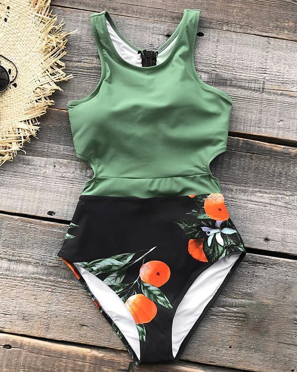 Printed Tied Bowknot Hollow Beach One-piece Swimsuit