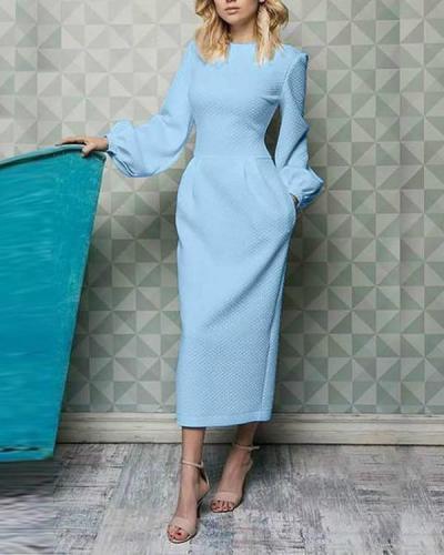Elegant Plain Lantern Sleeve Round Neck Maxi Dress