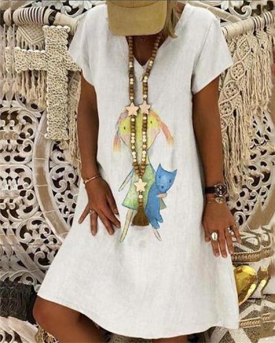 Fashion Summer Printed Loose Dress