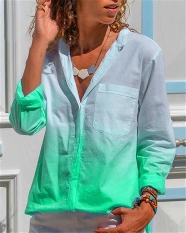 Gradient Women Shirt Loose Women Daily Shift Tops