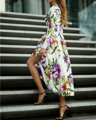 Floral Long Sleeve X-line Maxi Dress