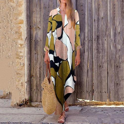 Fashion Print V Neck Long Sleeve Maxi Dress