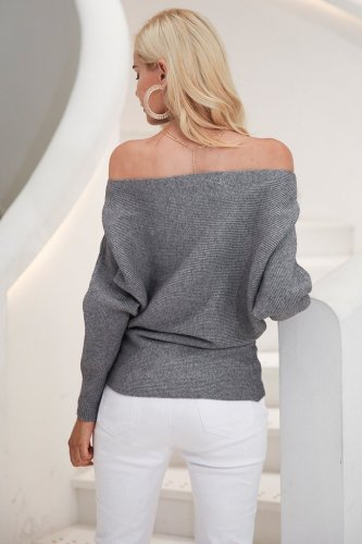Off Shoulder Sexy Elastic Knitting Pullover Sweater Women