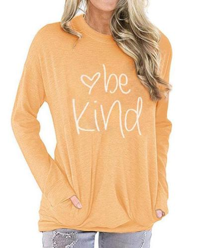 Be Kind Women's Casual Long Sleeve Solid and Letter Printed Shirts Blouses