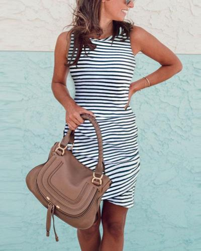Women Sleeveless O Neck Striped Mini Dress