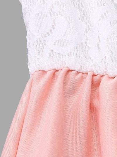 Lace Patchwork Crew Neck Swing Mini Dresses