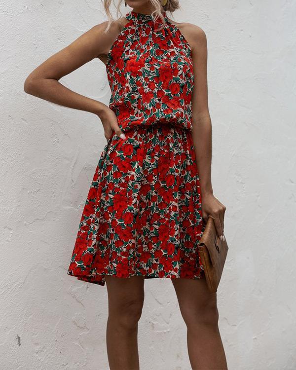Floral Print Halter A-line Dress
