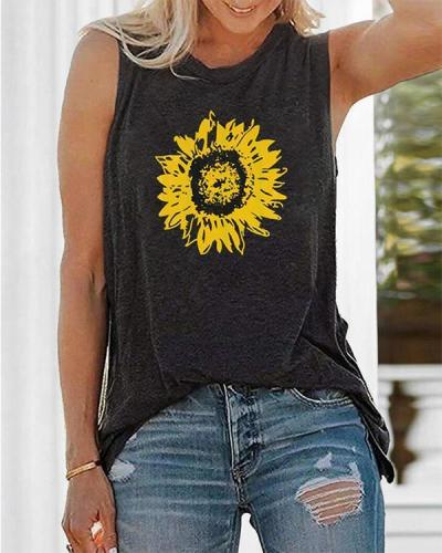 Sunflower Printed Tank Shirt