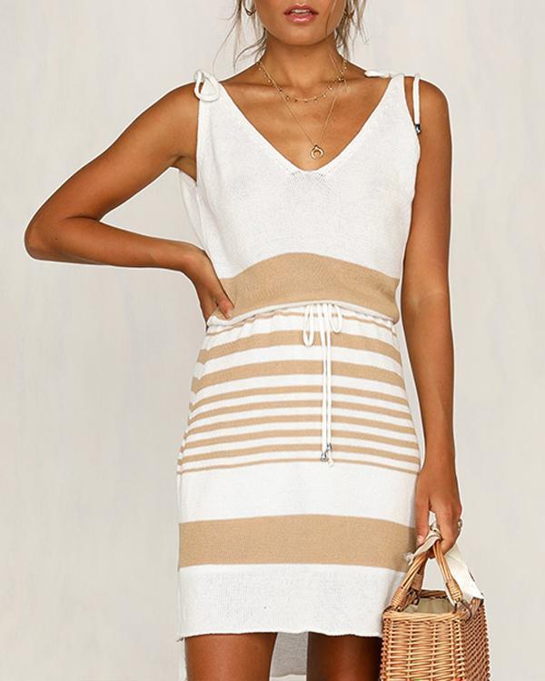 Lohan Knit Dress Black/White Stripe Dress